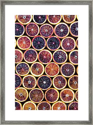 Blood Oranges Pattern Framed Print by Tim Gainey