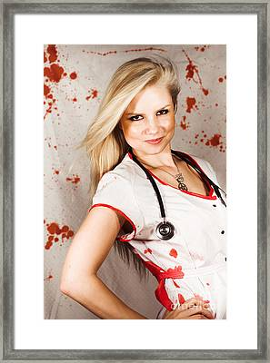 Bloodstained Sadistic Nurse Framed Print by Jorgo Photography - Wall Art Gallery