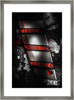 Bloody Knife Wrapped In Red Crime Scene Ribbon Framed Print by Jorgo Photography - Wall Art Gallery