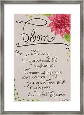 Bloom Framed Print by Elizabeth Robinette Tyndall
