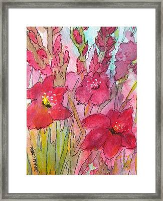 Blooming Glads Framed Print by Donna Cary