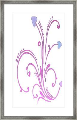 Blooming Pastel Hearts On A Vine Framed Print by Gina Lee Manley