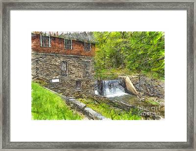 Blow Me Down Mill Cornish New Hampshire Pencil Framed Print by Edward Fielding