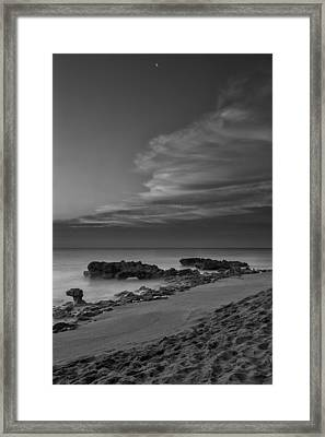 Blowing Rocks Black And White Sunrise Framed Print by Andres Leon