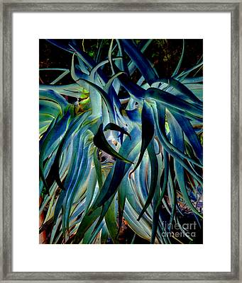 Blue Abstract Art Lorx Framed Print by Rebecca Margraf