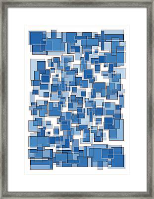 Blue Abstract Patches Framed Print by Frank Tschakert