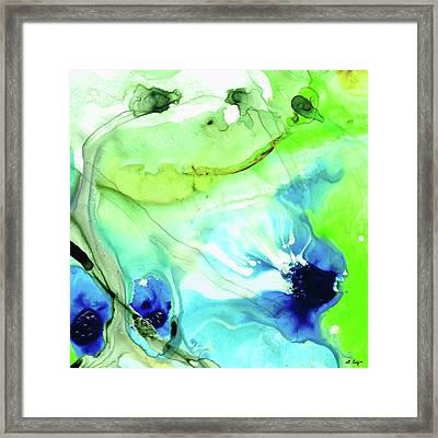 Blue And Green Abstract - Land And Sea - Sharon Cummings Framed Print by Sharon Cummings