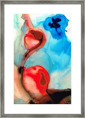 Blue And Red Art - Crimson Dance - Sharon Cummings Framed Print by Sharon Cummings