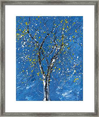 Blue And The Tree Framed Print by Donna Mann
