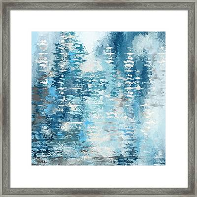 Blue And White Abstract Framed Print by Lourry Legarde