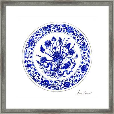 Blue And White Chinese Chinoiserie Plate 4 Framed Print by Laura Row