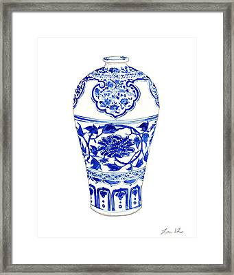 Blue And White Ginger Jar Chinoiserie 3 Framed Print by Laura Row