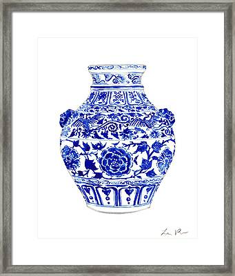 Blue And White Ginger Jar Chinoiserie 4 Framed Print by Laura Row