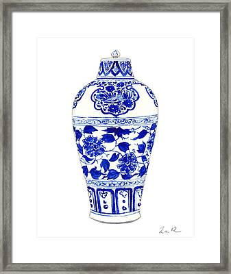 Blue And White Ginger Jar Chinoiserie Jar 1 Framed Print by Laura Row