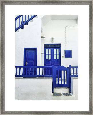 Blue And White Framed Print by HD Connelly