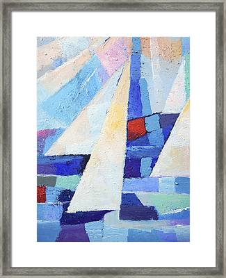 Blue And White Framed Print by Lutz Baar