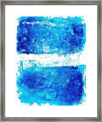 Blue And White Modern Art - Two Pools 2 - Sharon Cummings Framed Print by Sharon Cummings