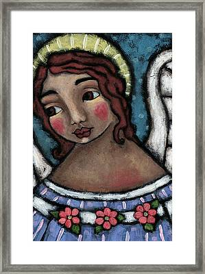 Blue Angel With Golden Halo Framed Print by Julie-ann Bowden