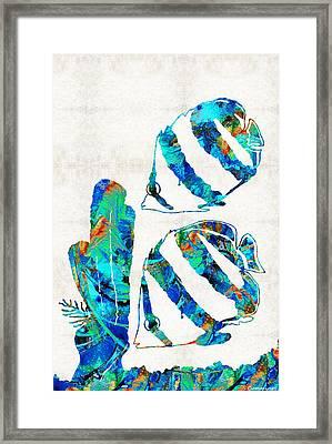 Blue Angels Fish Art By Sharon Cummings Framed Print by Sharon Cummings
