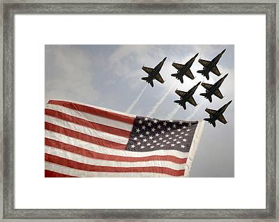 Blue Angels Soars Over Old Glory As They Perform The Delta Formation Framed Print by Celestial Images