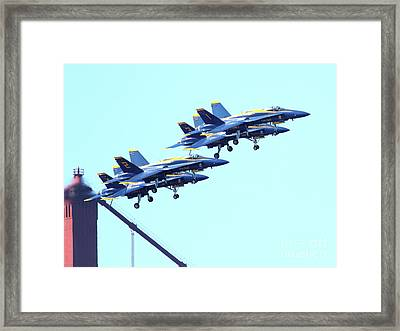 Blue Angels Traffic Jam Atop The Golden Gate Bridge Framed Print by Wingsdomain Art and Photography