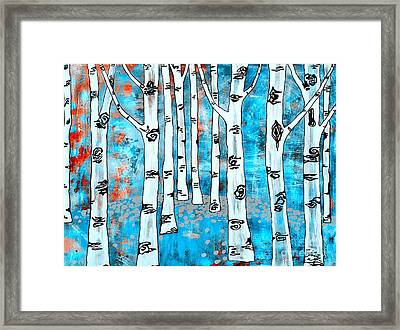 Blue Aspen Tree Framed Print by Amy Sorrell
