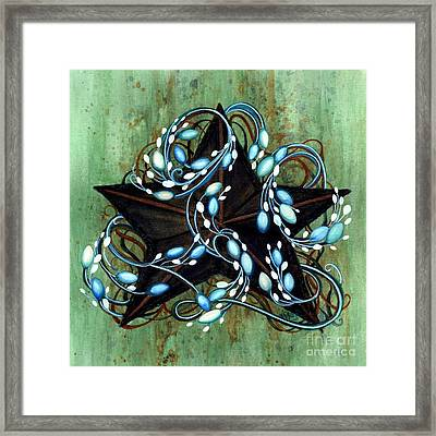 Blue Berries And Cream - Black Star Framed Print by Janine Riley