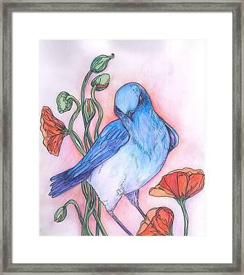Blue Bird Framed Print by Cherie Sexsmith