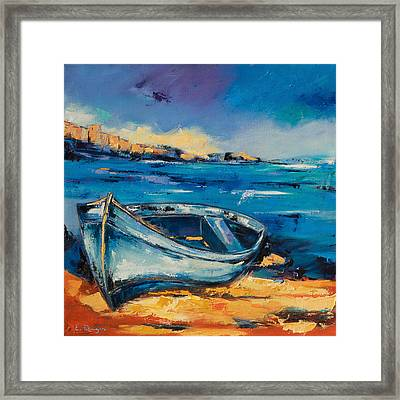 Blue Boat On The Mediterranean Beach Framed Print by Elise Palmigiani