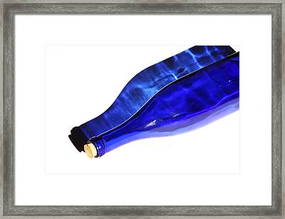 Blue Bottle Shadow Framed Print by Art Block Collections