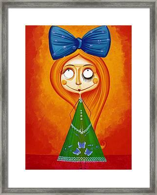 Blue Bow Fire Hair  Framed Print by Tiberiu Soos