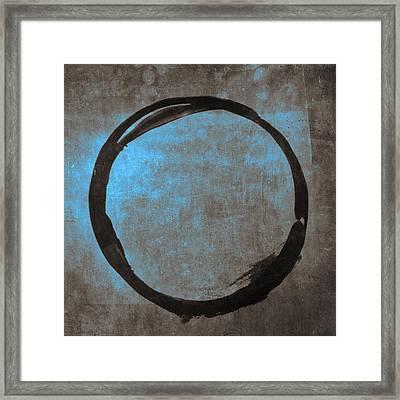 Blue Brown Enso Framed Print by Julie Niemela