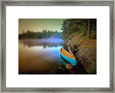 Blue Canoe Framed Print by Anthony Caruso