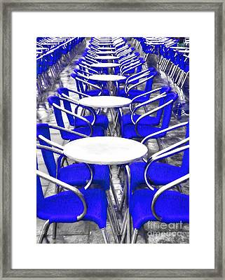 Blue Chairs In Venice Framed Print by Mel Steinhauer