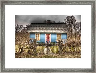 Blue Cottage Framed Print by Elisabeth Van Eyken