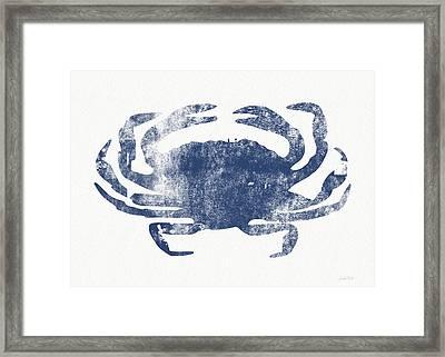 Blue Crab- Art By Linda Woods Framed Print by Linda Woods