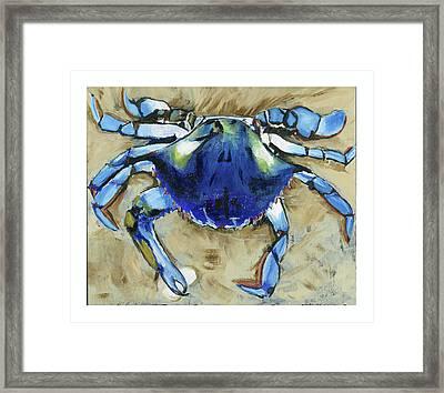 Blue Crab Framed Print by Debbie Brown