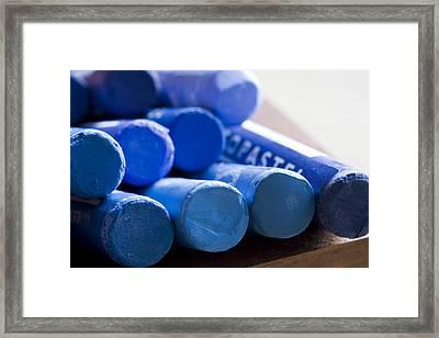 Blue Crayons Framed Print by Frank Tschakert