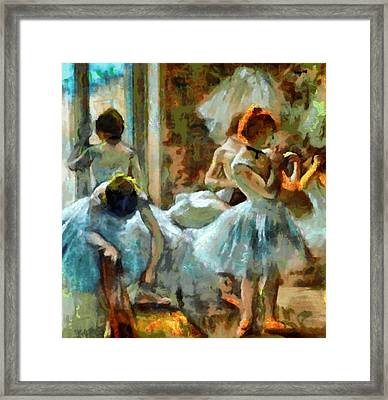 Blue Dancers In Modern Style Framed Print by Mario Carini
