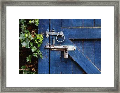 Blue Door Lock And Bolt Framed Print by Jeff Townsend