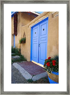 Blue Door Of An Adobe Building Taos New Mexico Framed Print by George Oze