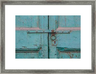 Blue Door Of Cortona Framed Print by David Letts