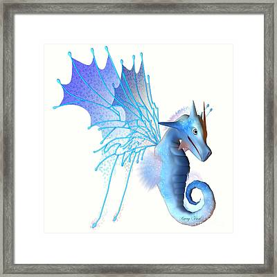 Blue Faerie Dragon Framed Print by Corey Ford