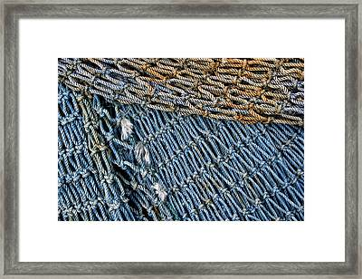 Blue Fishing Net Detail Framed Print by Carol Leigh