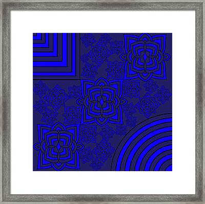 Blue Floral Patterns Framed Print by Pratyasha Nithin