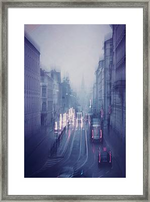 Blue Fog Over Rainy City Framed Print by Jenny Rainbow