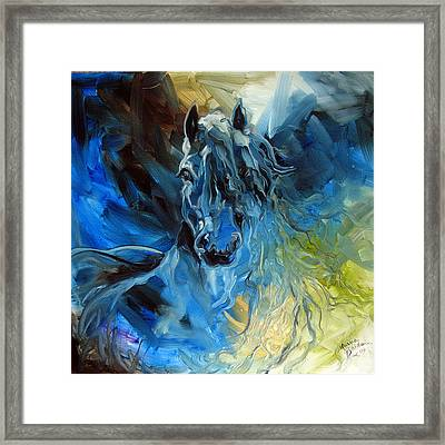 Blue Ghost  Equine Art Original Oil Framed Print by Marcia Baldwin