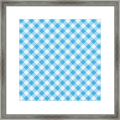 Blue Gingham Fabric Cloth Framed Print by Natalia Ratselmeister