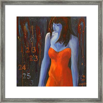 Blue Girl In Red Dress Framed Print by Lynn Chatman