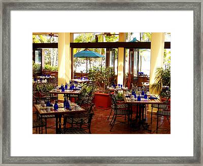Blue Glass Settings Framed Print by Deborah  Crew-Johnson